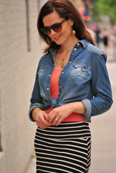 maxi skirt, denim shirt, tank