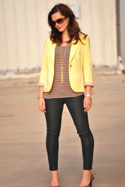 yellow blazer, striped shirt, skinny jeans, leopard heels