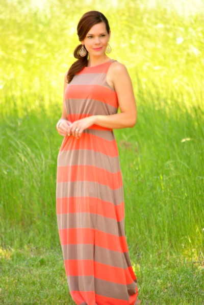 Coral Beige Striped Maxi Full