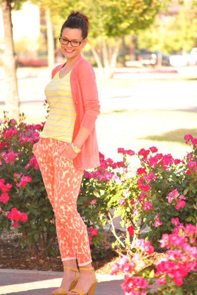 Printed Denim, Cardigan, Coral and Yellow, Style for moms