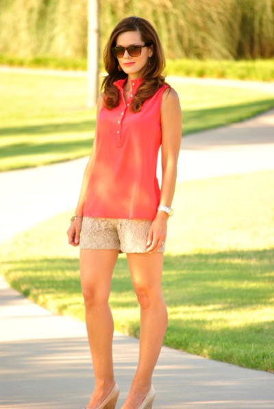 Coral Blouse Lace Shorts Full