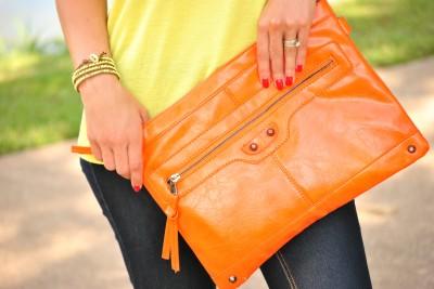 Neon Yellow Shirt Orange Clutch