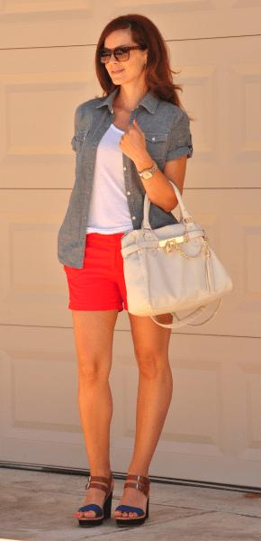 Red Shorts Chambray