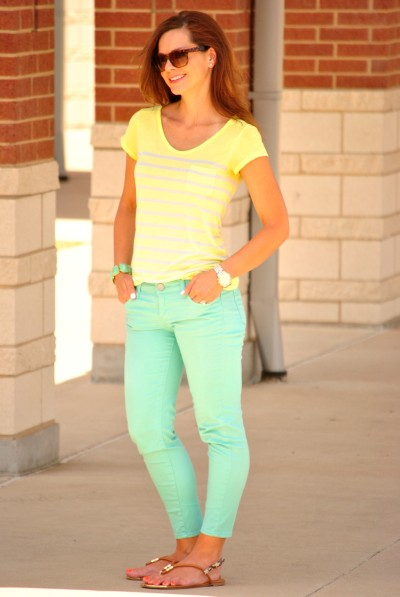 Mint Jeans Yellow T-shirt