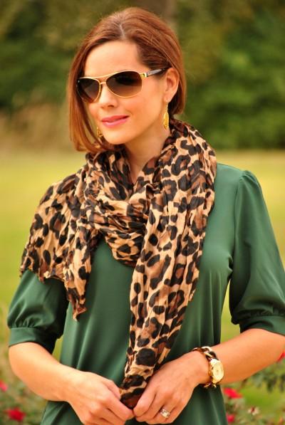 Shift Dress Green Leopard Close