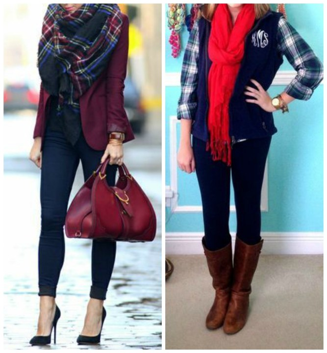 Dark Wash Skinny Jeans with Plaid