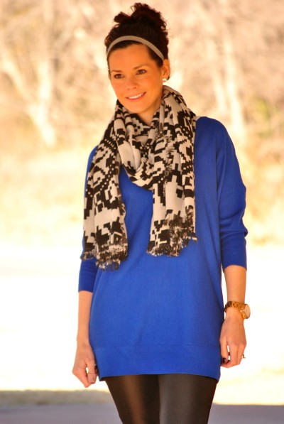 Tribal Scarf Cobalt Sweater