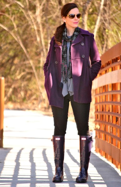 plum-coat-plaid-scarf-hunter-boots