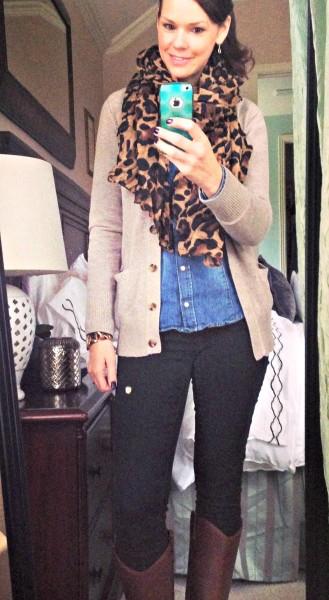 021414-boyfriend-cardigan-denim-shirt-leopard-scarf-outfit