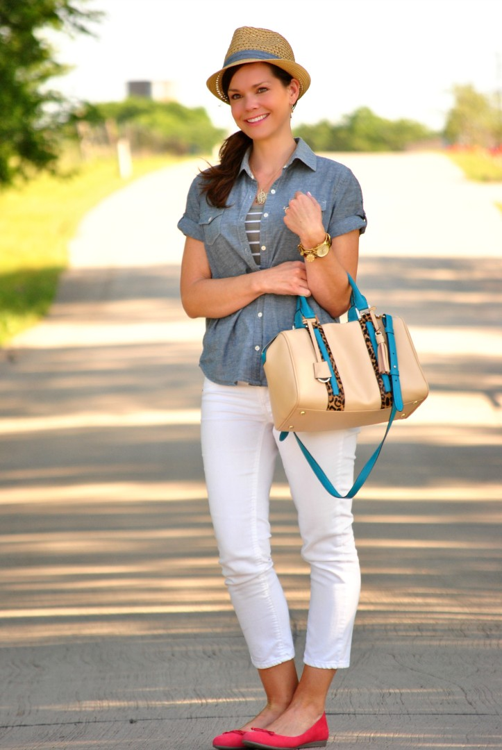 white-jeans-chambray-fedora