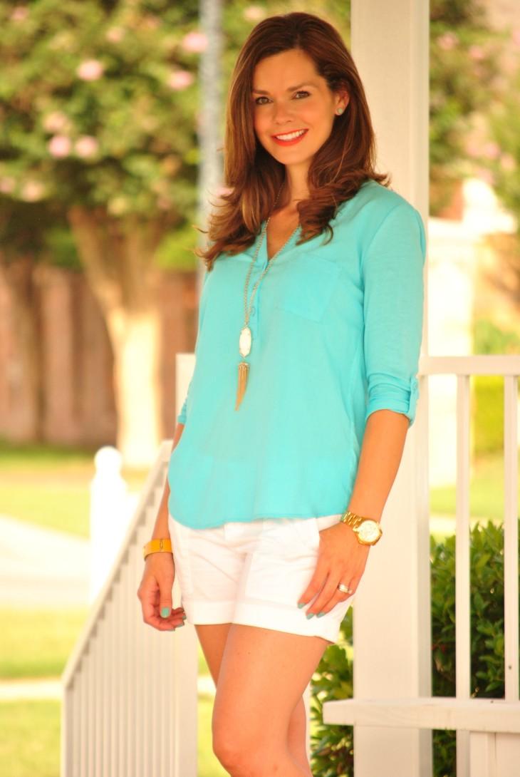 aqua-tunic-white-shorts