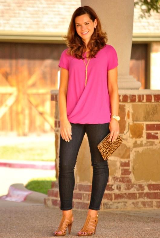 pink-blouse-jeans-leopard-clutch-heels