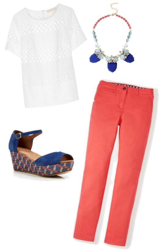 eyelet-shirt-coral-pants-wedges