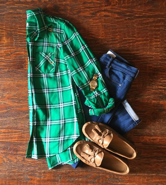 plaid-shirt-jeans-loafers-outfit