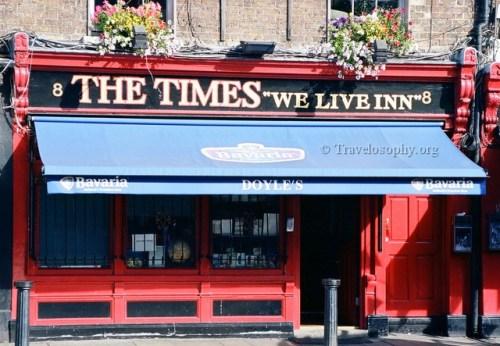 """The Times we Live Inn"" - Doyles Pub, College Street, Dublin. © 2012. JJM."