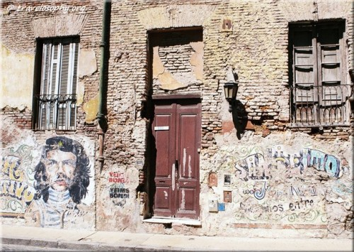 Rustic Building with Street Art in San Telmo District, Buenos Aires, March 2015. Photographed by Jean-Jacques with Pentium P30T Film SLR & Fuji Film ISO 200. Copyright © 2015 · All Rights Reserved · Gypsy Café