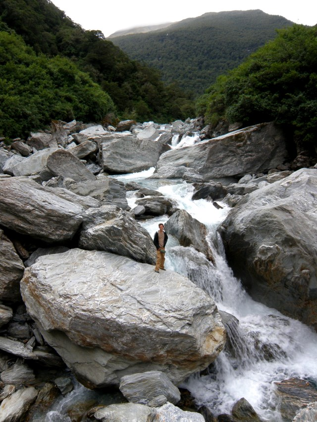 Gigantic rocks in the Haast River