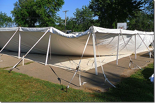 Tent side poles up