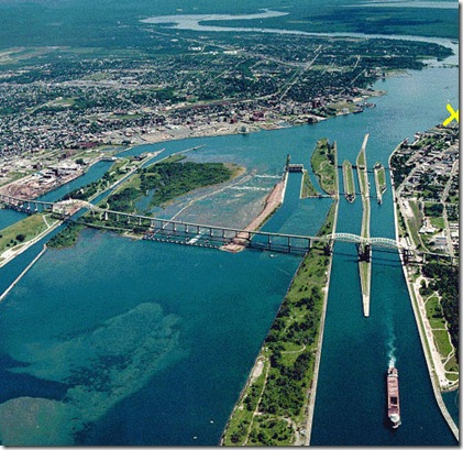 Soo Locks aerial view 2