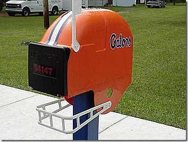 Football helmet mailbox
