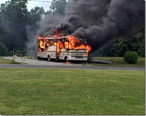 Motorhome on fire