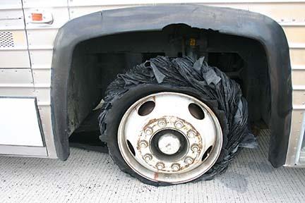 Bus tire blowout 6