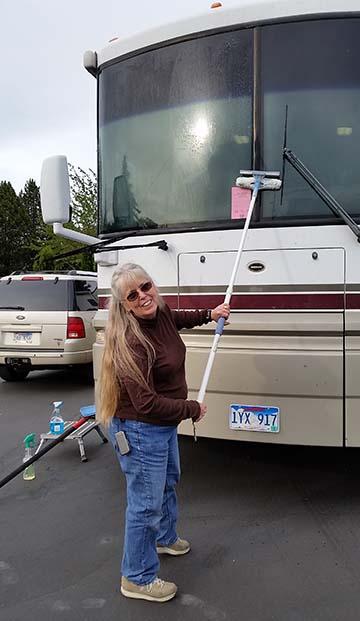 Terry washing windshield small