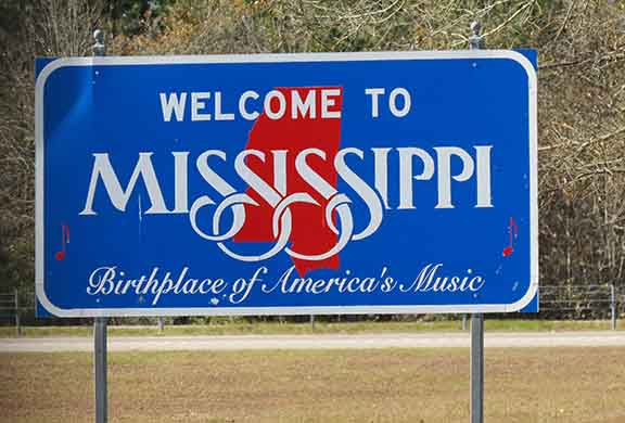 Mississippi welcome sign small
