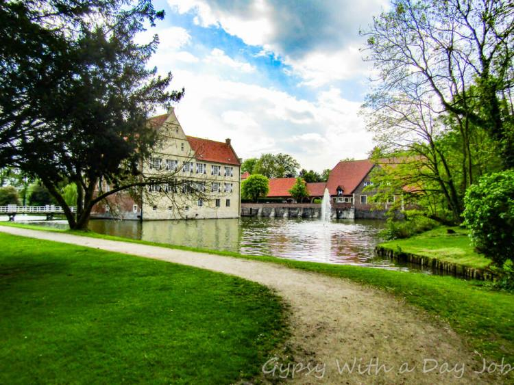 Hulshoff Castle, Burg Hulshoff, in Muensterland, Germany, in an idyllic setting.