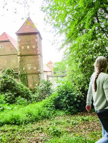 Hulshoff Castle, Burg Hulshoff, near Muenster, Germany, in an idyllic setting.