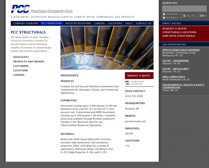 Precision Castparts corporate home: Structurals Division (Matt Giraud, Creative Director / Designer)