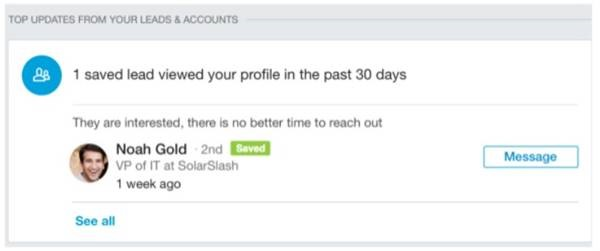 Navigator added an update message that flags leads who have recently viewed user profiles.