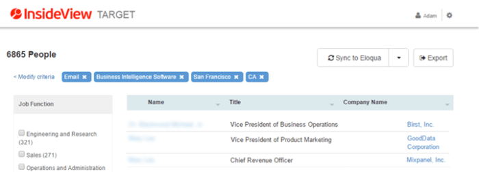 InsideView Target now supports Eloqua synch with duplicate checking.
