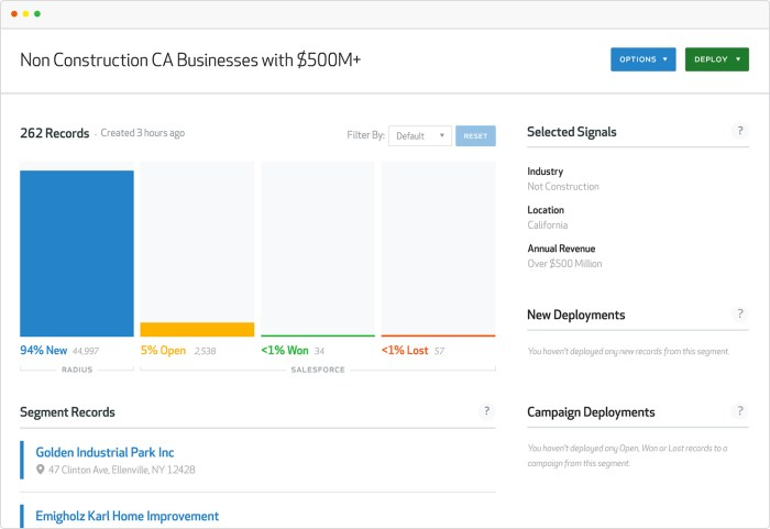 Radius provides easy to interpret segmentation, success analytics, and net-new lead prospect acquisition tools from within SFDC.