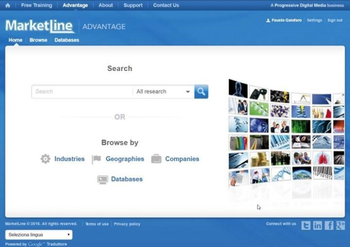 The MarketLine Advantage Homepage focuses on quick search but lacks dynamic content.