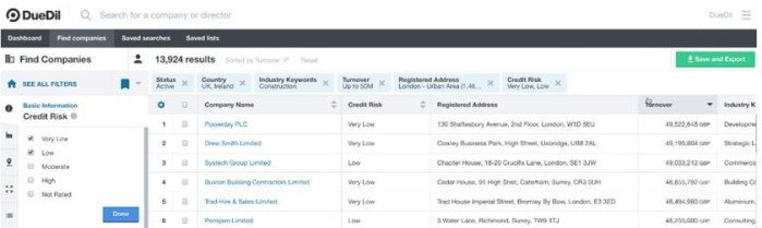 DueDil's new credit risk filter allows users to filter prospects by the degree of trade credit risk.