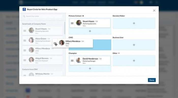 Buyer Circle, a new Sales Navigator feature released in Q3, provides drag-and-drop functionality for defining purchasing roles and players.