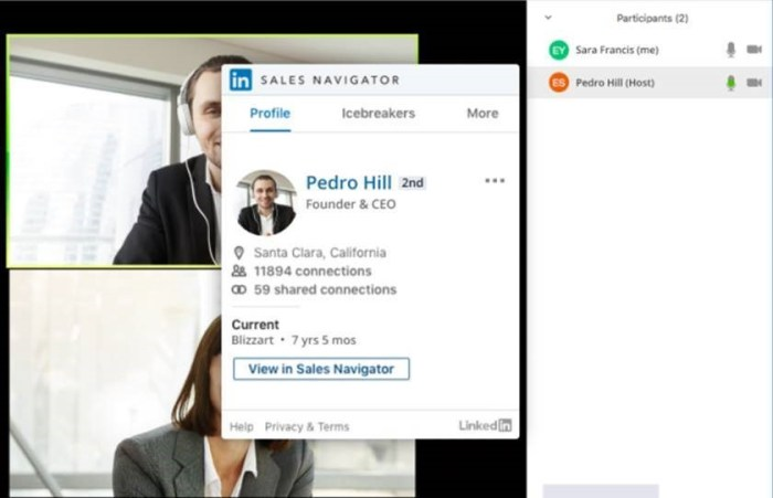 The Zoom LinkedIn SNAP integration provides meeting attendee insights and connections from within Zoom.