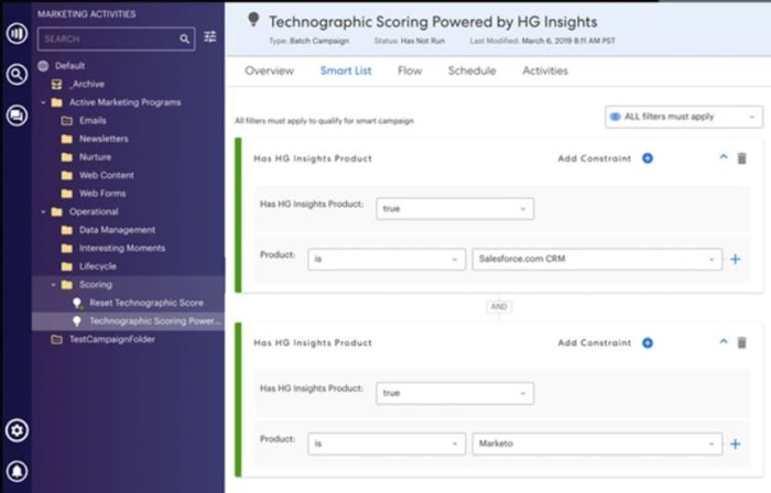 Technographic audience targeting by HG for Marketo