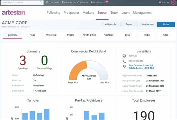 ARCH combines firmographics, compliance flags, and credit insights into a unified company profile.