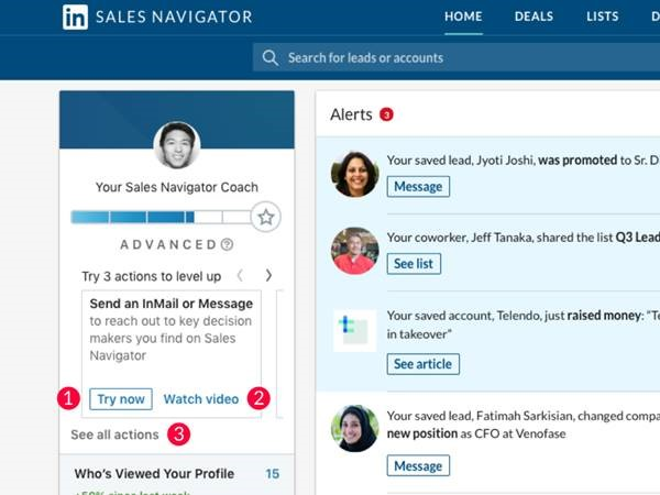 The new Sales Navigator Coach encourages reps to explore Sales Navigator. It is located on the redesigned home page.