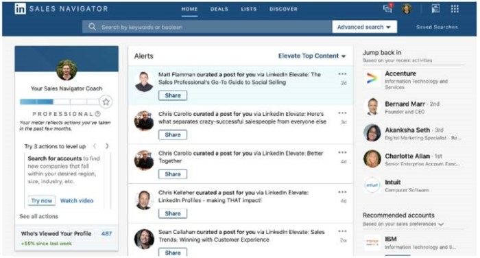 Elevate provides a curated feed of content to company employees for social media distribution. The curated content is now fed into Sales Navigator for LinkedIn, Twitter, and Facebook sharing