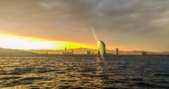 Port of Barcelona at sunset
