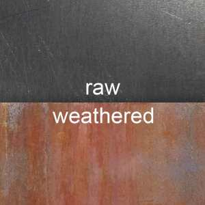 raw vs. weathered. Corten (a.k.a. COR-TEN® or weathering steel sheet metal