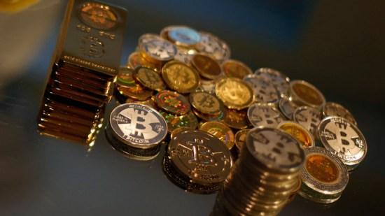 bitcoin coins and bars
