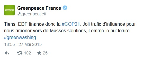greenpeace tweete sur EDF et la cop21