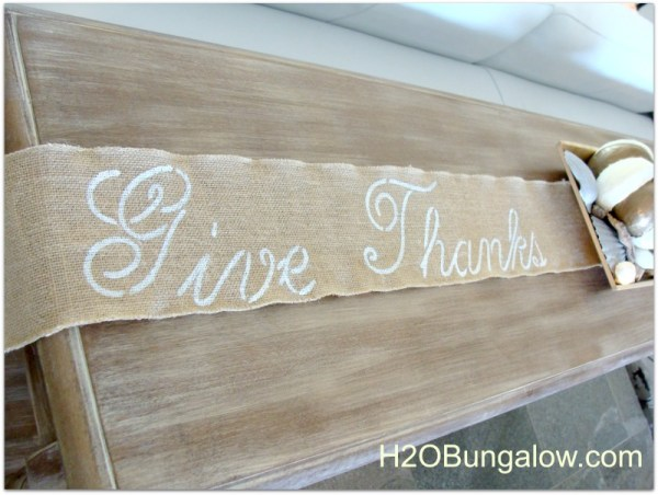 Simple no sew burlap table runner is easy to make and best of all I use it for my sofa table and my dining table.  We get to enjoy it much more during the Thanksgiving season!   www.H2OBungalow.com #Thanksgiving