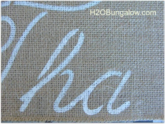 your finished letters should look like this on your no sew burlap table runner
