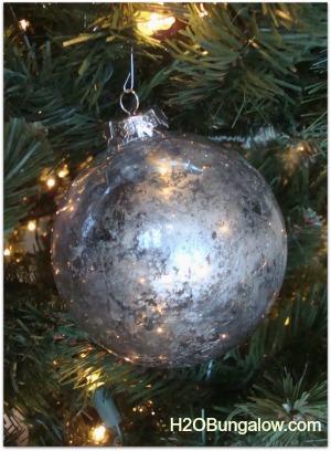 close up of mercury glass christmas tree ornament