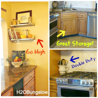 Best tips on how to organize a small kitchen and get more space with the room you have. A few of these tips are why didn't I think of that ideas, but they will change the way you look at your small kitchen space! www.H2OBungalow.com #organize #smallhouse